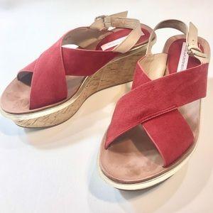 Diane von Furstenberg Red Suede Wedge Sandals 7 M